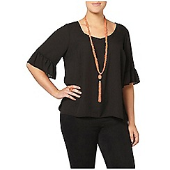 Evans - Black busty fit frill top