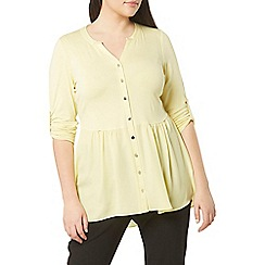 Evans - Yellow woven hem shirt
