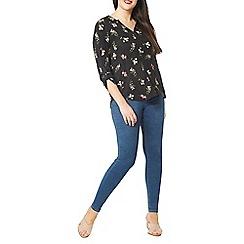 Evans - Black floral print shirt