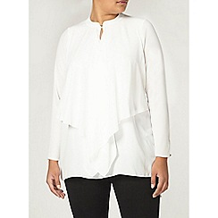 Evans - Ivory frill front blouse