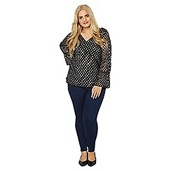Evans - Black and silver spot mesh top
