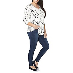 Evans - Ivory and navy birds top