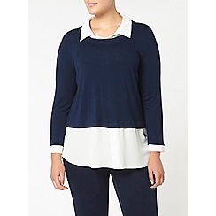 Evans - Navy and ivory layered top