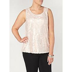 Evans - Blush pink shimmer lace front vest