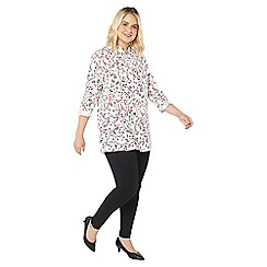 Evans - Ivory floral disty shirt