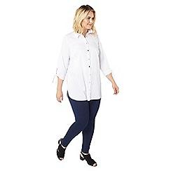 Evans - White popline tie sleeves shirt
