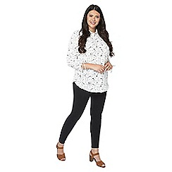 Evans - Ivory star print ruched sleeve shirt