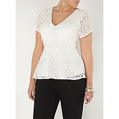 Evans - Ivory hourglass fit lace peplum top