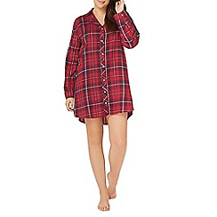 Evans - Red woven check night shirt