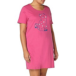 Evans - Pink cat print short nightdress