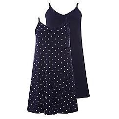 Evans - 2 pack navy blue polka dot camisole nightdresses