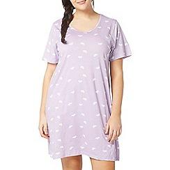 Evans - Lilac cloud print short nightdress