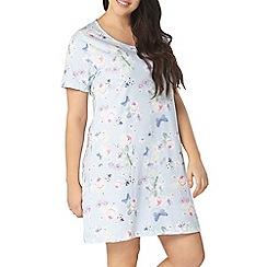 Evans - Blue spring floral short nightdress