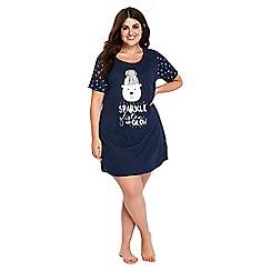 Evans - Navy blue polar bear short nightdress