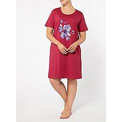 Evans - Pink rose motif short nightdress