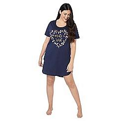 Evans - Navy blue 'make a wish' slogan short nightdress