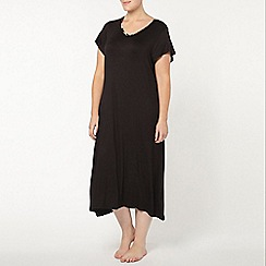 Evans - Black satin long nightdress