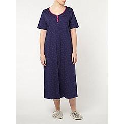 Evans - Stitch heart navy long night dress