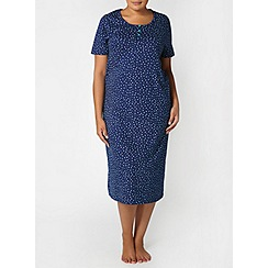 Evans - Navy spot print long nightdress