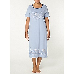 Evans - Blue floral heart long nightdress