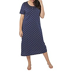 Evans - Navy knotted heart print long nightdress
