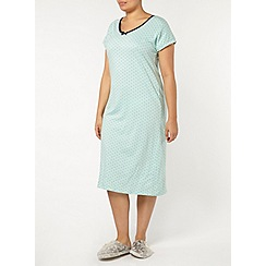 Evans - Mint and navy spot long nightdress