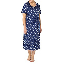 Evans - Navy shell print long nightdress