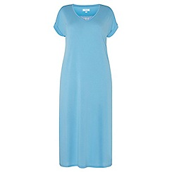 Evans - Turquoise blue lace insert long nightdress