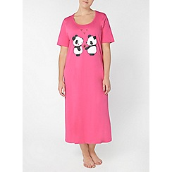 Evans - Pink panda print long nightdress