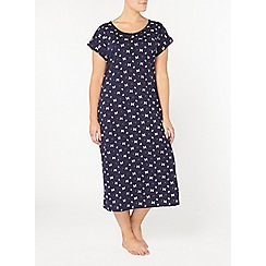 Evans - Navy butterfly print long nightdress