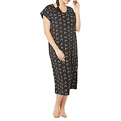 Evans - Black all over cat face long nightdress