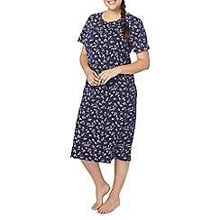 Evans - Navy floral print long nightdress
