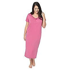 Evans - Pink satin trim long nightdress