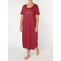 Evans - Berry dragonfly print short nightdress