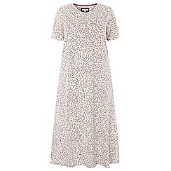Evans - Ivory woodland floral print long nightdress