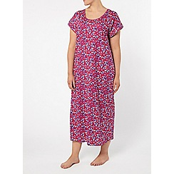 Evans - Pink purple rose print long nightdress