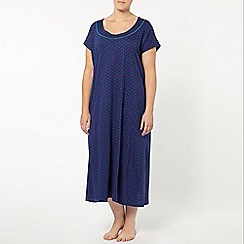 Evans - Navy blue spot print long nightdress