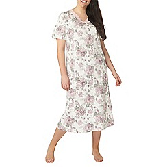 Evans - Ivory floral bouquet long nightdress