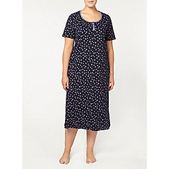 Evans - Navy star print long night dress