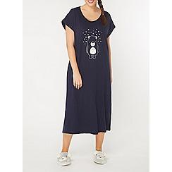 Evans - Navy sleepy bear long nightdress