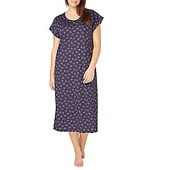 Evans - Navy blue robin print long nightdress