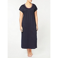 Evans - Navy spot long nightdress