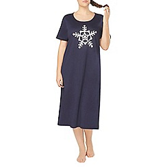 Evans - Navy blue snowflake print nightdress