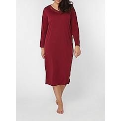 Evans - Berry red viscose midi nightdress