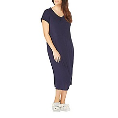 Evans - Navy blue viscose long nightdress