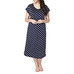 Evans - Navy woodblock long nightdress