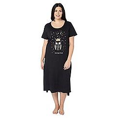 Evans - Black and gold owl print nightdress