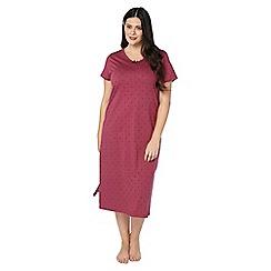 Evans - Dark pink spotted long nightdress