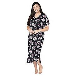Evans - Black floral print nightdress
