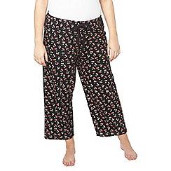 Evans - Black cherry print pyjama bottoms